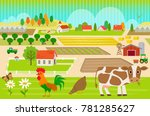 colorful  farmland pattern with ... | Shutterstock .eps vector #781285627