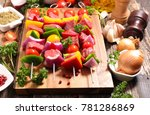 raw beef for barbecue | Shutterstock . vector #781286869