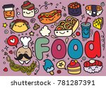 foods doodles hand drawn... | Shutterstock .eps vector #781287391