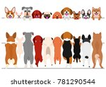 Stock vector standing small dogs front and back border set 781290544