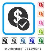 valid dollar coin icon. flat... | Shutterstock .eps vector #781295341