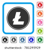 litecoin coin icon. flat grey...
