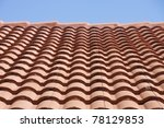 clay tile roof under a blue sky   Shutterstock . vector #78129853