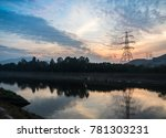 high voltage pylon with cool... | Shutterstock . vector #781303231