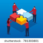 isometric team and puzzles | Shutterstock .eps vector #781303801