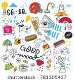 set of cute doodle on paper... | Shutterstock .eps vector #781305427