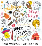 set of cute doodle on paper... | Shutterstock .eps vector #781305445