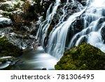 secret waterfall in winter time ... | Shutterstock . vector #781306495