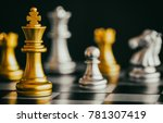 the king in battle chess game... | Shutterstock . vector #781307419