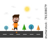 hipster running on the way | Shutterstock .eps vector #781308079