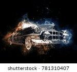 Old School Black Muscle Car  ...