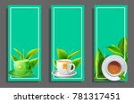ceramic cup of tea with mint... | Shutterstock .eps vector #781317451