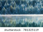 Foggy Lake In Cascade Mountains