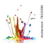 colorful paint splashing...   Shutterstock . vector #78132580