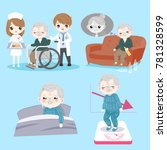 old man with health problem on...   Shutterstock .eps vector #781328599