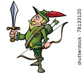 Small photo of Cartoon Robin Hood with a sword.Isolated on white