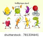 fruits and vegetables cartoon... | Shutterstock .eps vector #781334641