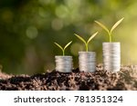 three rows of coins placed on... | Shutterstock . vector #781351324