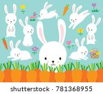 Stock vector cute white easter bunny rabbit vector illustration and flowers 781368955
