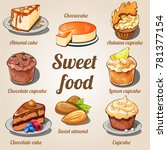 cute poster with set of sweet... | Shutterstock .eps vector #781377154