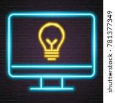 computer with light bulb neon... | Shutterstock .eps vector #781377349