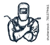 hand drawn logo welder with... | Shutterstock .eps vector #781379461