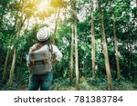 traveler woman with backpack... | Shutterstock . vector #781383784