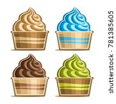 vector set of ice cream in... | Shutterstock .eps vector #781385605