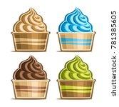 vector set of ice cream in... | Shutterstock .eps vector #781385605