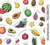 seamless pattern of exotic ... | Shutterstock .eps vector #781386391