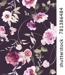 Stock photo seamless summer pattern with watercolor flowers handmade dark background 781386484