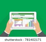 hand holding tablet.... | Shutterstock .eps vector #781402171