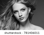 beautiful woman with blonde... | Shutterstock . vector #781406011