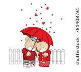 cute bears are standing under... | Shutterstock .eps vector #781408765