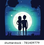silhouette of man and woman in... | Shutterstock .eps vector #781409779