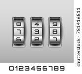 metallic combination lock with... | Shutterstock .eps vector #781416811