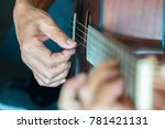 acoustic guitar close up... | Shutterstock . vector #781421131