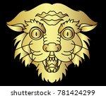 gold tiger vector on black...   Shutterstock .eps vector #781424299