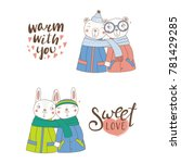 set of hand drawn cute funny... | Shutterstock .eps vector #781429285