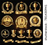 trophy and awards laurel wreath ... | Shutterstock .eps vector #781430941