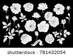 set of rose's silhouettes .... | Shutterstock .eps vector #781432054