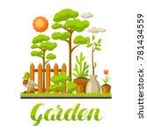 garden landscape illustration... | Shutterstock .eps vector #781434559