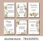 set of botanical vector cards.... | Shutterstock .eps vector #781435051