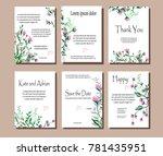 set of botanical vector cards.... | Shutterstock .eps vector #781435951
