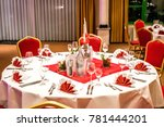 banquet with red table setting... | Shutterstock . vector #781444201