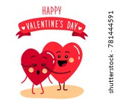cute holiday valentines day... | Shutterstock . vector #781444591