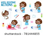 little black girl and her daily ... | Shutterstock . vector #781444855