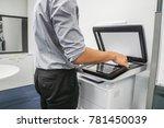 businessman press paper sheet... | Shutterstock . vector #781450039