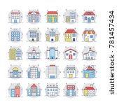 buildings flat rounded icons 1 | Shutterstock .eps vector #781457434