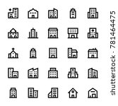 buildings outline icons 2 | Shutterstock .eps vector #781464475
